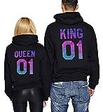 King Queen Kapuzenpullover Für Paare Geschenk Pullover Pärchen Partner Hoodies Symbolische Liebe 2Stücke (Schwarz+Schwarz,King-L+Queen-S)
