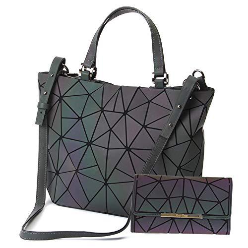 HotOne Scherbe Gitter Design Geometrische Tasche PU-Leder Einzigartige Geldbörsen und Handtaschen (Leuchtend Groß +Taste Brieftasche, L)