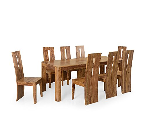 @home by Nilkamal Granada FLDSGRANDKIT8SNWLT Eight Seater Dining Table Set (Walnut)