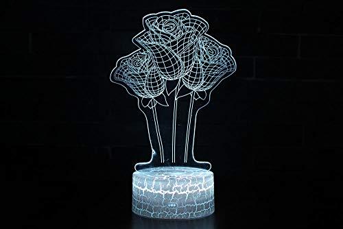 3D Optische Illusions-Lampen Rose Optische 3D-Illusions-Lampen Tischlampe Nachtlichter 7 Farben Berührungsschalter Schreibtischlampe Geburtstagsgeschenk Für Freunde Kinder