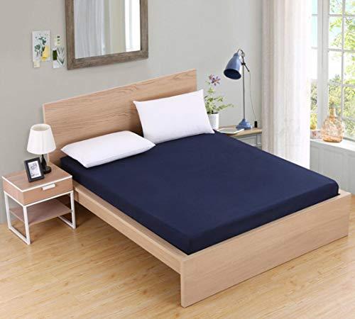 PENVEAT Einfarbiger Spannbetttuch-Matratzenbezug mit umlaufendem elastischem Gummiband-Betttuch für Zwei Queen-King-Einzelbetten, dunkelblau, 90 x 200 x 25 cm