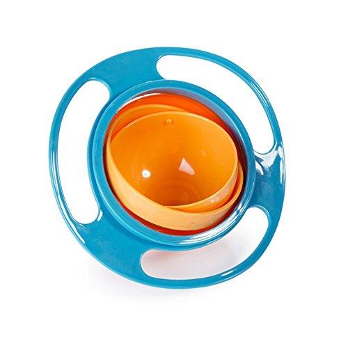 JUYUAN Kinderteller Kindergeschirr aus Kunststoff,Perfekte für Baby Entwöhnung,Einfach Abwaschbar,360 Drehen deckel Baby Kind Kinder Verschütten Proof Feeder Gerichte Light Blue