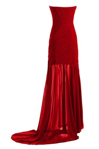 Ivydressing Damen Einfach Etui-Linie Herz-Ausschnitt Promkleid Festkleid Abendkleid Rot