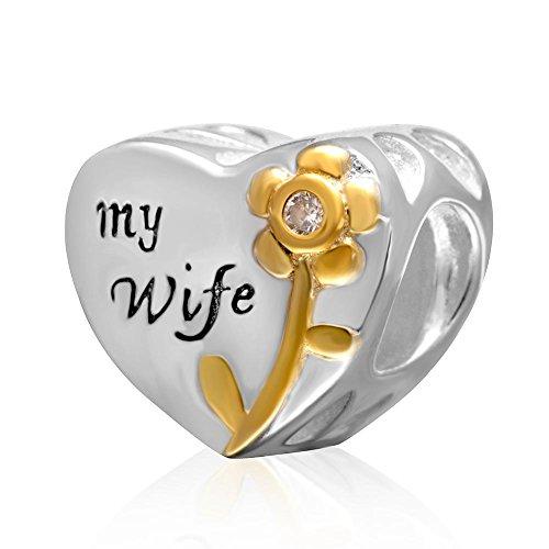 """Ciondolo in cristallo a forma di cuore, con fiore in vero argento sterling 925 placcato oro e scritta """"love my wife"""", perlina adatta a braccialetti europei con ciondoli"""