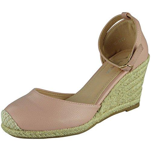 420b38e990944 Loud Look Womens Ladies Ankle Strap Espadrilles Platform Shoes Mid Heel  Wedge Sandals Size 6