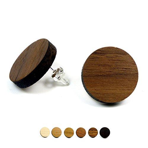 Holzschmuck Holz Ohrringe | Nussbaum | Echtholz Ohrstecker Holz 925 Sterling Silber |Holzohrringe Damen | natürlicher Ohrschmuck (Großen Nussbaum)