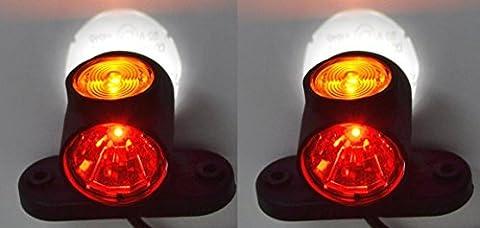 2x latérales avant Feux de gabarit E9marqué lampe 12V 24V Camion Remorque van Caravan Châssis pour camping-car Orange Blanc Rouge