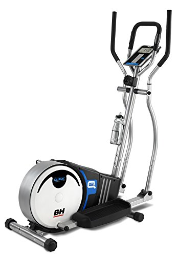 BH fitness Quick G233N Elliptical cross trainer. Inertial system 18lbs. Magnetic brake system. Stride 36cm. Distance between pedals 18cm. Monitor LCD. White and grey