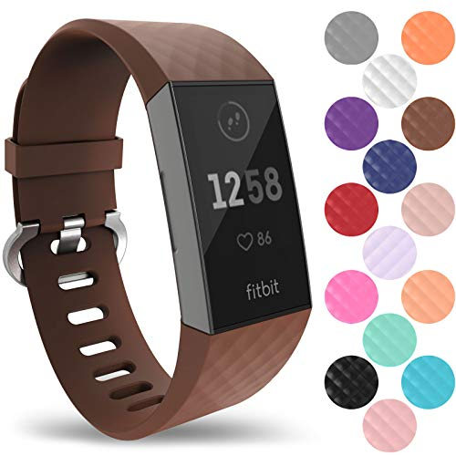 Yousave Accessories Fitbit Charge 3 Strap, Replacement Silicone Fitbit Charge 3 Wristband,...
