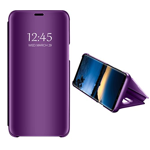 Huawei P20 Lite specchietto Flip Cover,Standing Clear View specchio riflettente brillante Ultra sottile Custodia Full Body per Huawei P20 (purple, Huawei P20 lite)