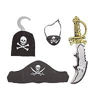 Kids Pirate Fancy Dress Costume Accessories - Sword, Bandana, Eye Patch & Hook