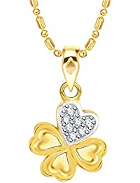 VK Jewels Four Heart Gold And Rhodium Plated Alloy CZ American Diamond Pendant With Chain For Women [VKP2730G]