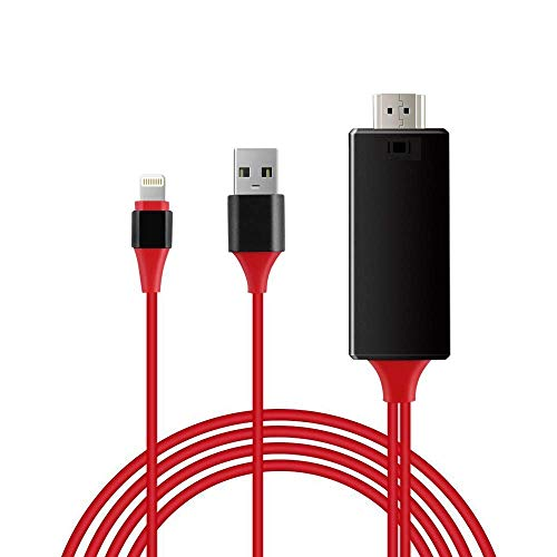 QHLJX Blitz zu HDMI, iPhone Bildschirm zu TV Kabel HDMI 1080p IOS Adapter USB Ladegerät Konverter, Unterstützt für iPhones und iPads, Telefon zu HDMI Kabel, Plug and Play, Länge 2M (Rot) (Konverter Hdmi Für Telefon)