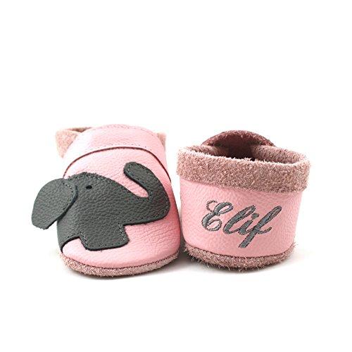 little foot company® 11242 Krabbelschuhe Babyschuhe Lauflernschuhe mit Namensstickerei Elefant weiches Leder rosa 18/19 ca. 9-16 Monate