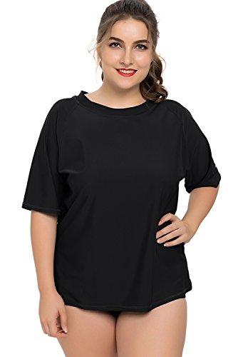 Charmleaks Damen Große Größen Uv-Shirt Langarm Lockes Geschnitten UV-Schutz (UPF) 50+ Solid Schwarz XL