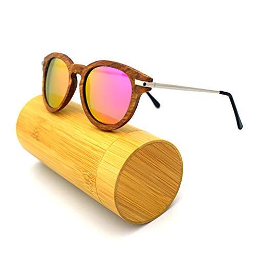 FYrainbow Holzmähne und Frauen Sonnenbrillen, umweltfreundliche Retro Driving Gläser Polarized Light Sonnenbrille TAC Objektiv UV400,A