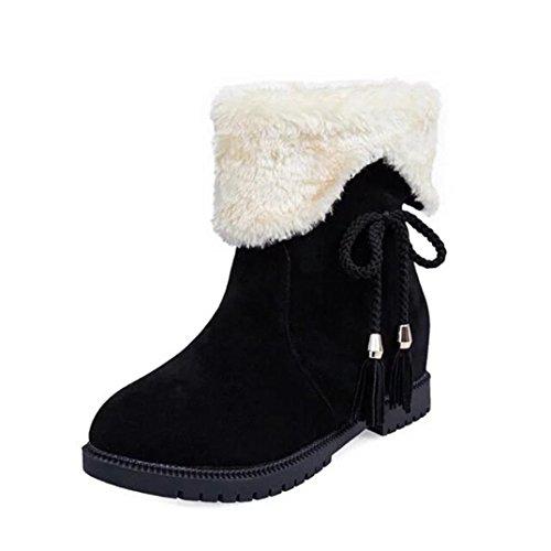 Stiefeletten Damen Schuhe Xinan Sexy Schnee Stiefel Winter Knöchel Stiefel Frauen Schuhe Heels Winterstiefel Mode Schuhe (40, Schwarz) (Stiefel Knöchel-hohe Ferse,)