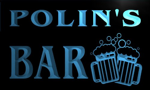 w025918-b-polin-name-home-bar-pub-beer-mugs-cheers-neon-light-sign