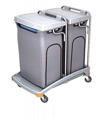 Splast Doppel-Abfallwagen aus Plastik 2 x 120l mit Seitenabdeckung - Deckel optional, Variante:Mit Deckel