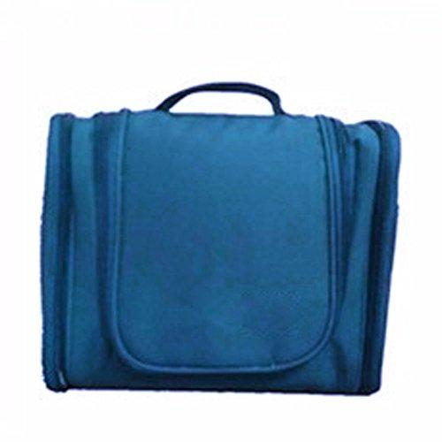 woopower Damen Kosmetiktasche Outdoor Reisen Make-up usw. Handtasche Toilettenartikel Aufbewahrungstasche, wasserdicht, mit Haken zum Aufhängen, Fold Double Open Pocket, blau (Wallet Double Fold)