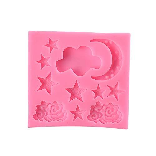 Maoran Süßigkeitenbackform Keksform Fondant Form Schokolade Gelee Süßigkeiten Desserts Backen Seife Kerzen Modellieren antihaftbeschichtet mikrowellenfest Mond Stern Form 8,3 x 8 x 0,8 cm, rose