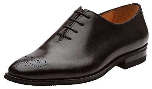 Dapper Shoes Co. Herren-Schuhe, handgefertigt, echtes Leder, klassisch, Wholecut Oxford, Schwarz (schwarz), 47 EU
