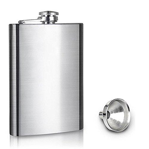 Preisvergleich Produktbild 8 OZ Bouteille de vin de de liqueur d'acier inoxydable sablée portative avec la petite tasse d'entonnoir