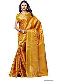 Mimosa Women's Silk Saree With Blouse Piece (164-Gld,Gold,Free Size)