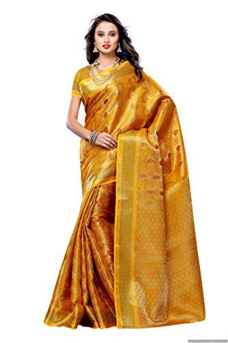 Mimosa Women'S Art Kanchipuram Silk Saree With Blouse,Color:Gold(3190-164-GLD)
