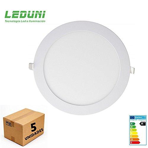 LEDUNI Placa LED Circular SuperSlim 20W Pack 5 Downlight LED Blanco Frío...
