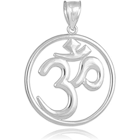 Plata calado hindú meditación Yoga Encanto (Aum) Om Colgante