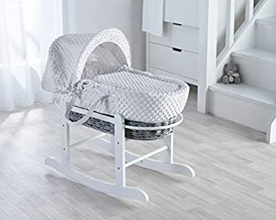 White Dimple on Grey Wicker Padded Moses Basket & Deluxe White Rocking Stand.