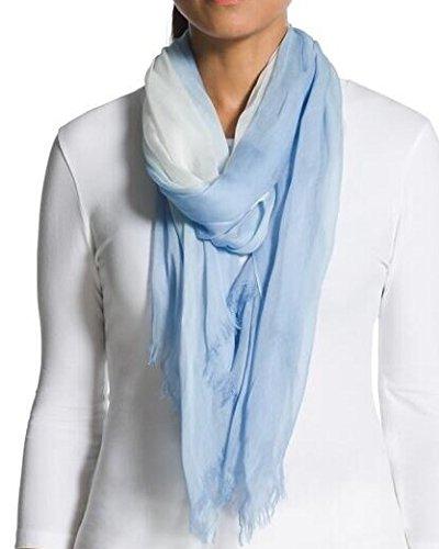 Prettystern - 180cm effet plus facile gradient de batik Femmes écharpe de fibre naturelle 100% Modal Light Blue-White
