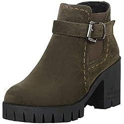 Zapatillas, BaZhaHei, Hebilla de cinturón de Terciopelo Mate de tacón Medio Botas Zapatos de Punta Redonda para Mujer Hebilla Correa Suede Plaza Tacones Medios Botas Zapatos para Mujer