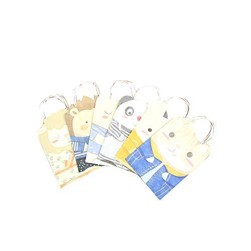Packpapier-Geschenk-Beutel Mit Handgriff 6Pcs Papiertragetasche Für Party-Tier-Muster Papier Saures Tasche