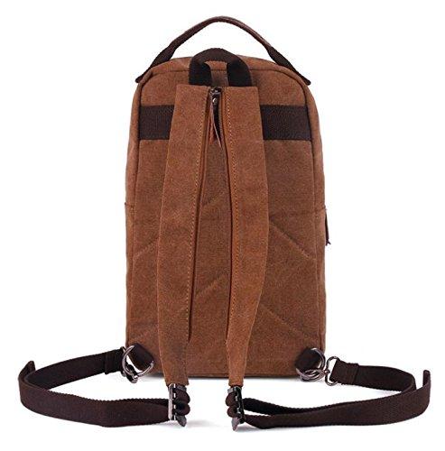 &ZHOU Borsa di tela, duplice uso multi-funzionale tela borsa a tracolla borsa da viaggio retrò per il tempo libero, casual borsa a tracolla, borsa di petto, zainetto zaino computer , coffee color coffee color