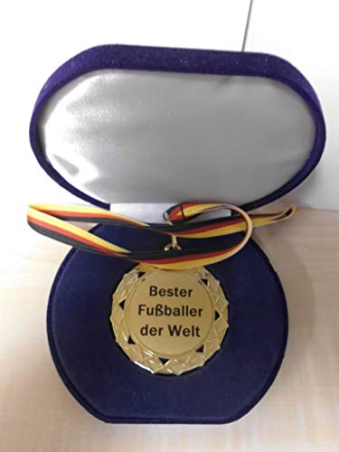 Fanshop Lünen Pokal - Bester Fußballer der Welt - Etui - Medaillenetui mit Band - Geburtstag - Geschenk - Fußball - Karate - Kicker - usw. - (e603) -