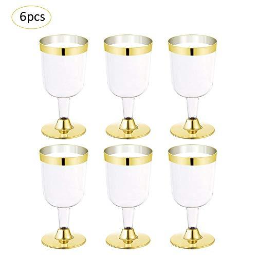 as - 6PCS Gold Rim Kunststoff Champagner Flöten 6 Oz. Klare Harte Einwegparty Klare Plastik-Toastgläser für Weinglas-EIS ()