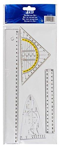 TSI 46294 Zeichengarnitur 4-teilig mit Lineal 17 cm, 30 cm, Parabel und Geometriedreieck 16 cm