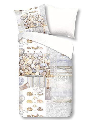 Good Morning! 4 teilige Bettwäsche 135x200 cm Vintage Muscheln Maritim beige Baumwolle Wende