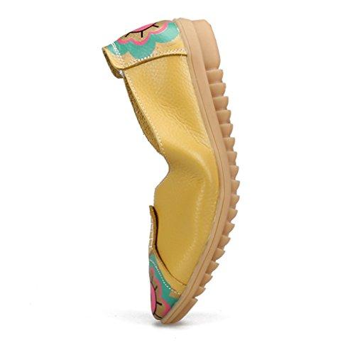 YY-Rui Chaussures de course classique pour femme Manteaux en cuir Chaussures pour bateaux Chaussures Jaune