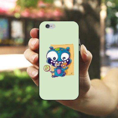 Apple iPhone X Silikon Hülle Case Schutzhülle Monster Bonbons Kinder Silikon Case schwarz / weiß