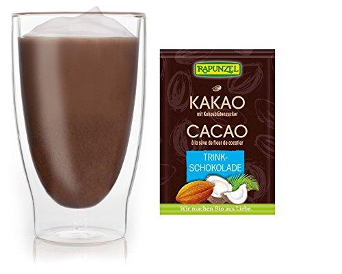 Feelino 1x 400ml XL doppelwandiges Thermoglas + 1x hochwertiger Rapunzel BIO - Trinkschokolade mit hohem 30% Kakaoanteil, Kokosblütenzucker, Meersalz und mit natürlichem Bourbon Vanille / doppelwandiges Thermo Glas mit Schwebe-Effekt