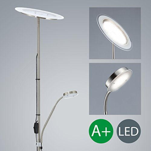 Làmpara de pie LED - Làmpara de pie con foco al techo - Lampara LED de salòn Color de la luz blanca-calida - Foco al techo de 20W de potencia y en color niquel -mate