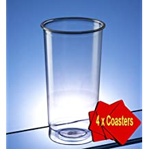 Regalzone - Vasos de tubo de plástico, 340 ml, transparentes. Paquete de 100 vasos con 4 posavasos