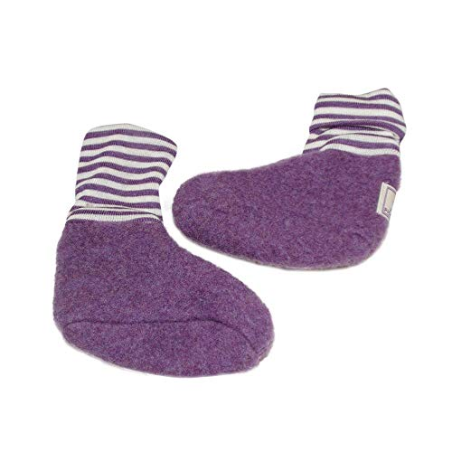 PICKAPOOH Baby Schühchen Sox Bio-Wolle/Seide, Lila, Gr. 2 (ca. 3-6 Monate) -