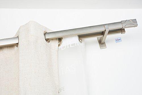 Double Tringle á Rideaux: 31 x 12 mm, L. 260 cm sans Anneaux en Acier satiné - Complet