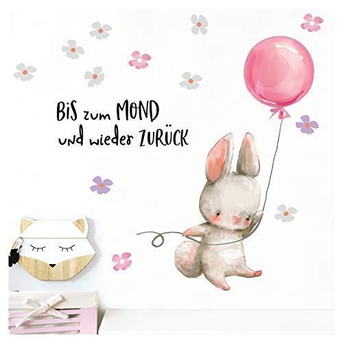 Wandtattoo Kinderzimmer Hase mit rosa Ballon Spruch Bis zum Mond I (BxH) 68 x 42 cm I Wandaufkleber Blumen Babyzimmer Aufkleber Wandsticker Tiere Kinder DL209-1 ()