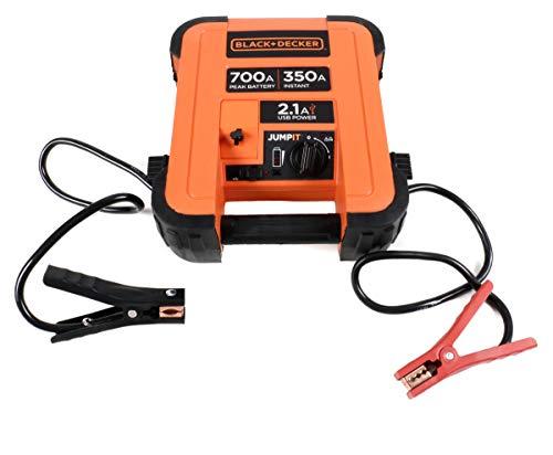 Black- & Decker Jump It Starthilfe-Ladegerät für KFZ-Motoren, Netzladeadapter inkl. ca.180 cm Kabel, Plus- + Minusklemmen, EIN-Aus-Schalter, LED-Anzeige, Auto KFZ PKW Jump Starter 12V /350A
