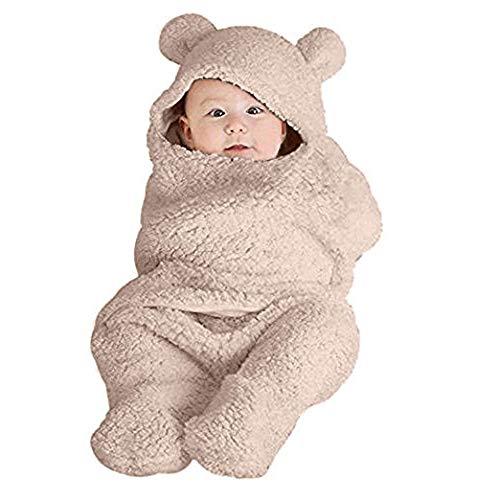 Anmain sacco a pelo neonato, bambino sacco a pelo di lana, morbido e comodo, bambino sleep bags per la nanna, per autunno e inverno (kaki)